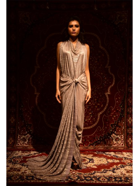Shiny Draped Knotted Gown