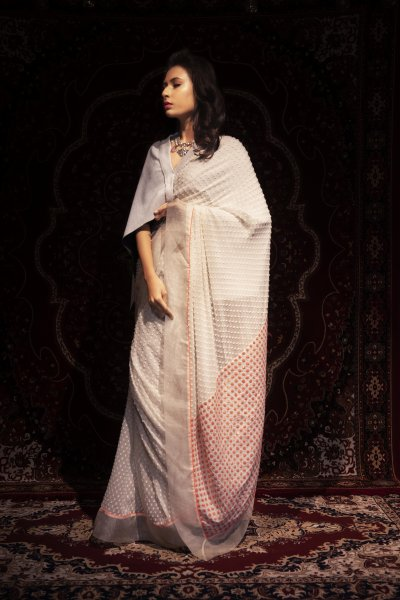 Cape And A Quilted Sequins Saree