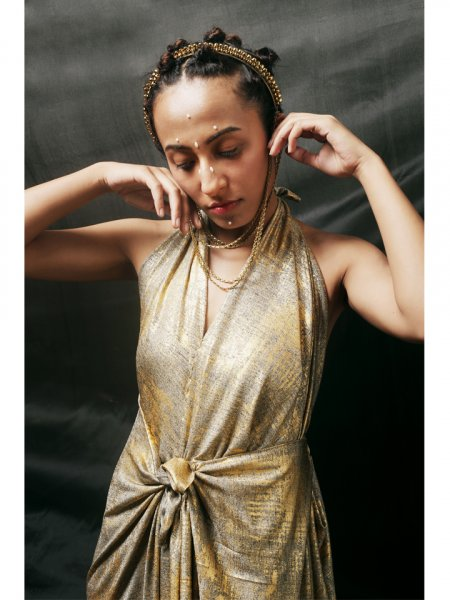 Golden Foil Knotted Gown