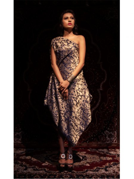 Brocade Knee Length Dress