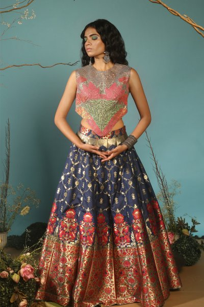 BROCADE LEHENGA WITH LOTUS TOP