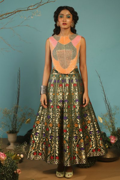 BROCADE LEHENGA WITH LOTUS BLOUSE