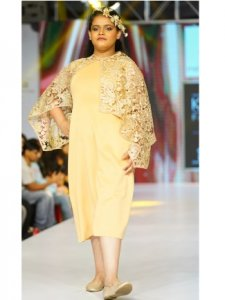 Golden Fitted Dress with Stylish Mesh Cape