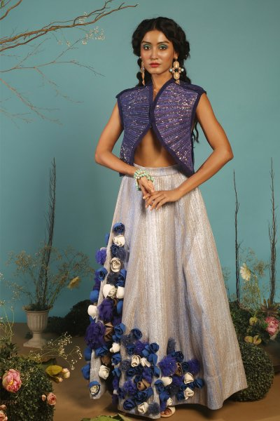 BLUE  WOVEN  LEHENGA WITH  SEQUINS JACKET