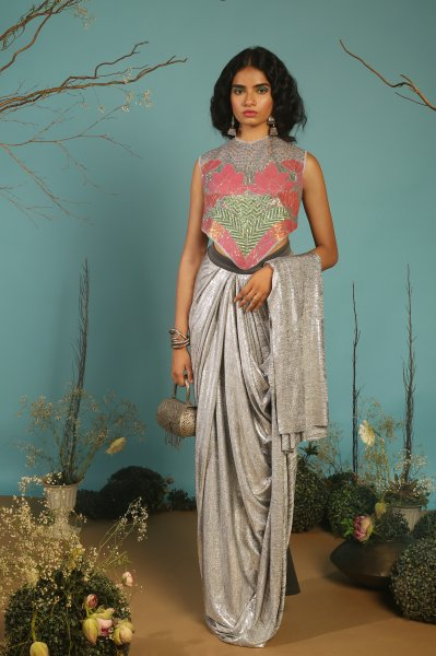 LOTUS BLOUSE WITH  DRAPED SAREE